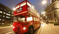 Iconic Routemaster Bus at dusk